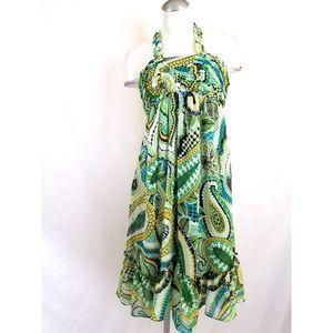 Sangria Size 8 Paisley Halter Dress Green